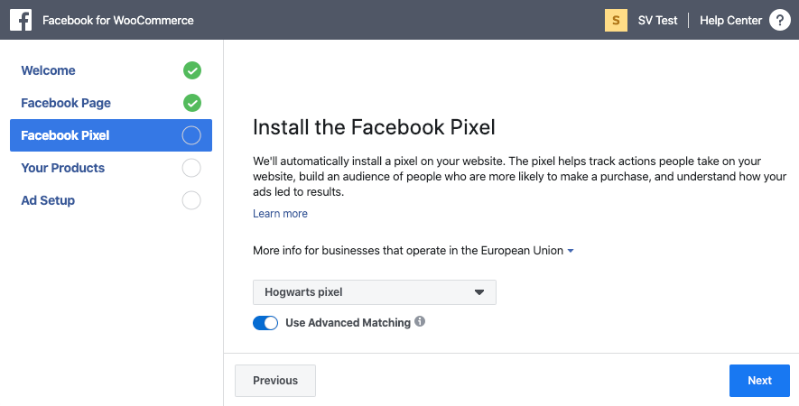 Selecting a Pixel during Facebook for WooCommerce setup