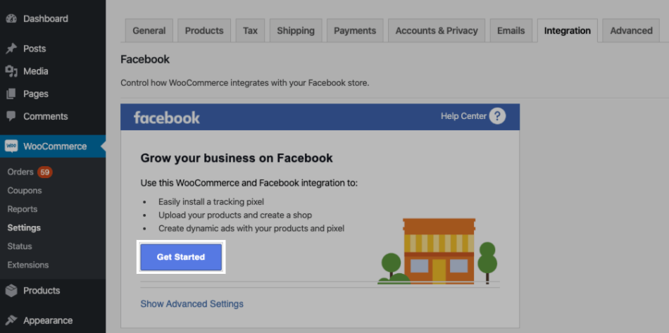 Get started button to launch Facebook for WooCommerce setup