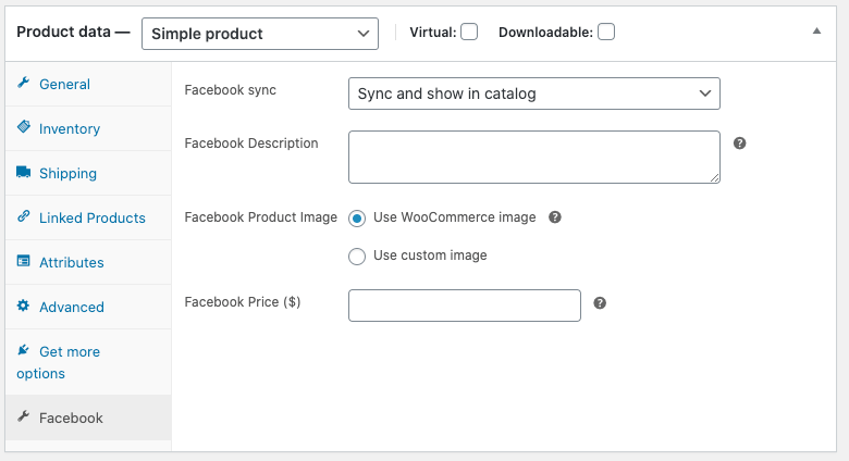 The Facebook product settings for a simple product.