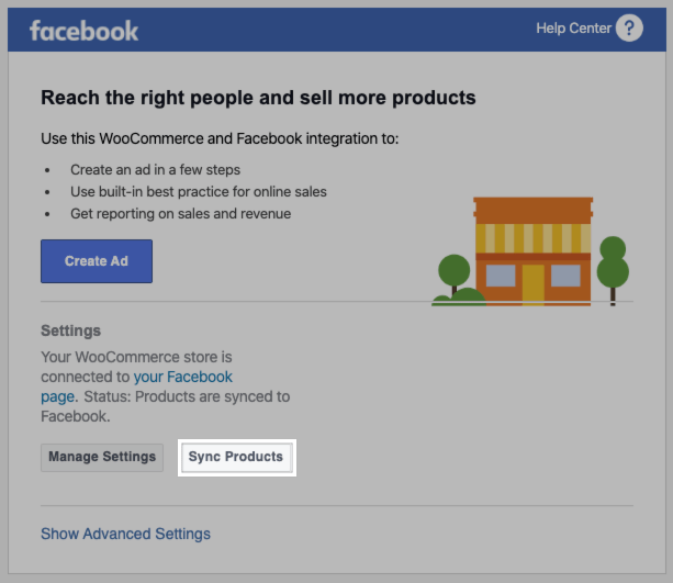 Facebook for WooCommerce Sync Products button