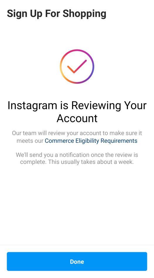 Instagram shopping pending review