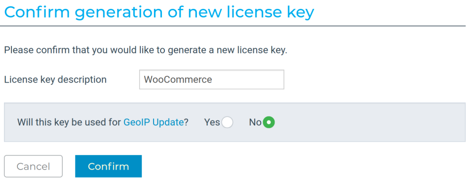 MaxMind confirm license key page
