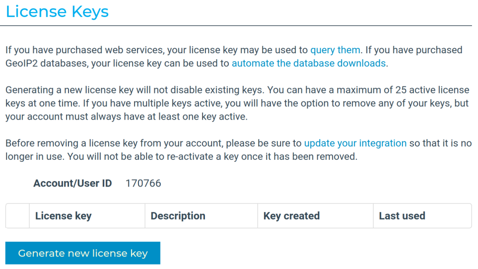 MaxMind license keys page
