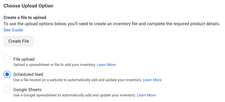 Facebook Product Catalog upload methods