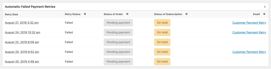 Subscription retry payment admin table statuses