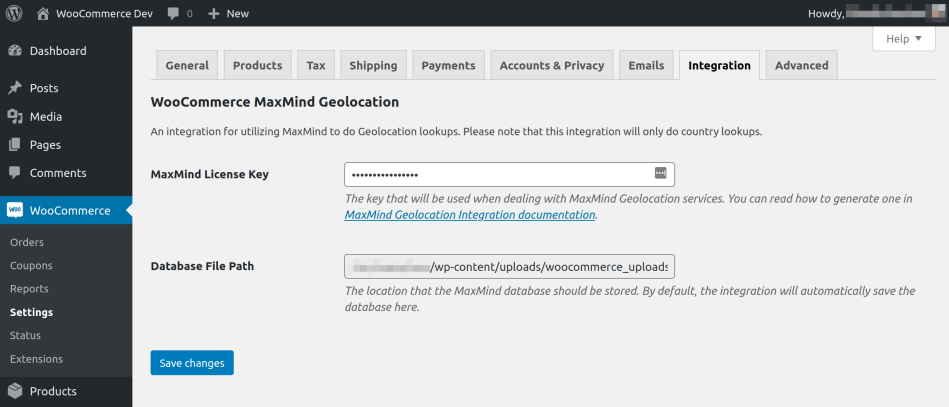 MaxMind Geolocation integration page