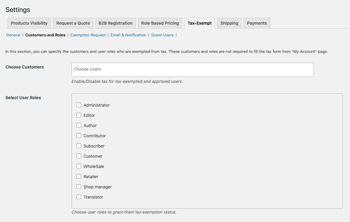 Customers & User roles