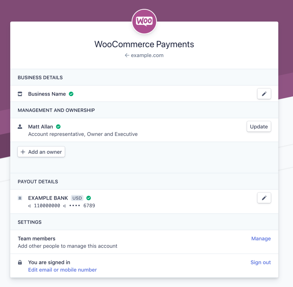 Example WooCommerce Payments Account Dashboard at Stripe.com