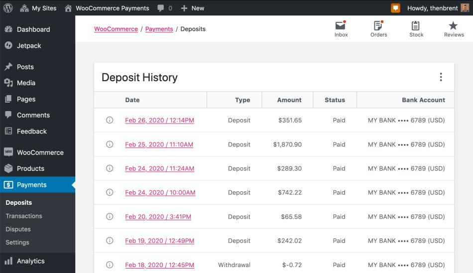Payments > Deposits administration screen screenshot