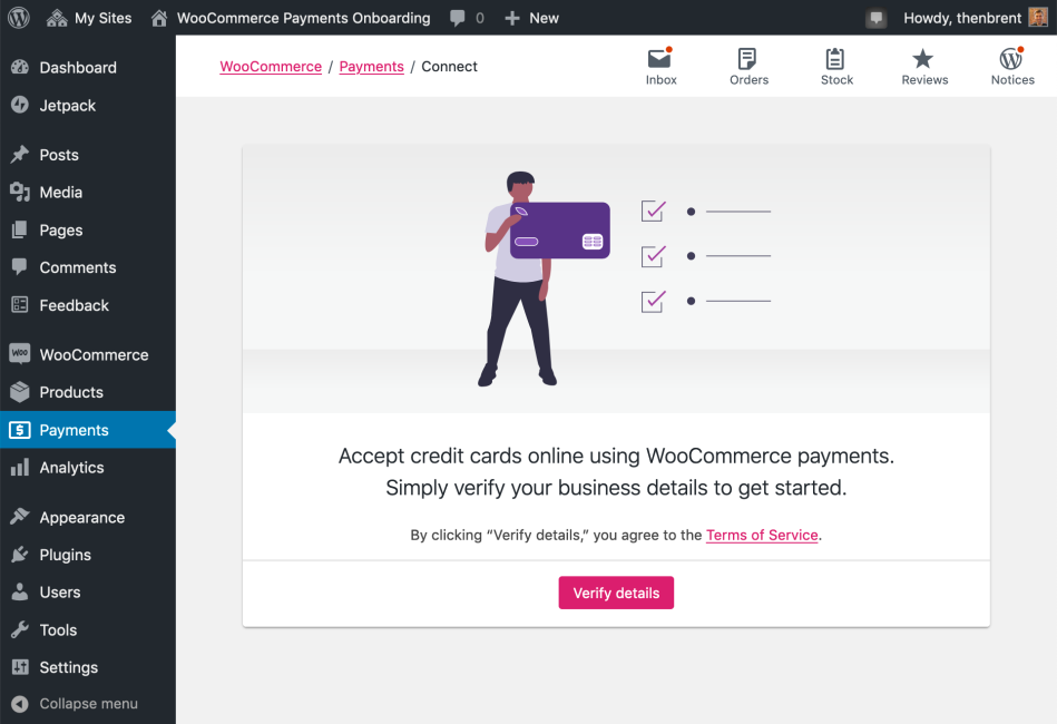 Payments getting started screenshot