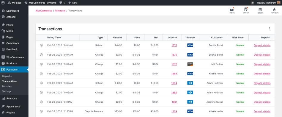 Payments > Transactions administration screen screenshot