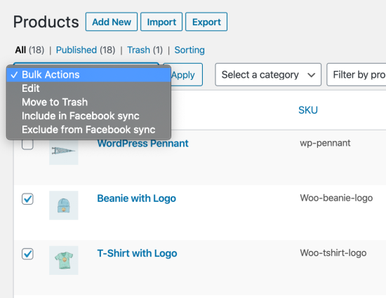 Facebook for WooCommerce product bulk actions
