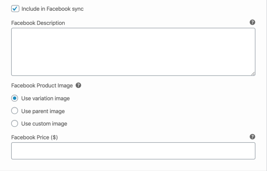 Facebook for WooCommerce - Facebook fields on a variation