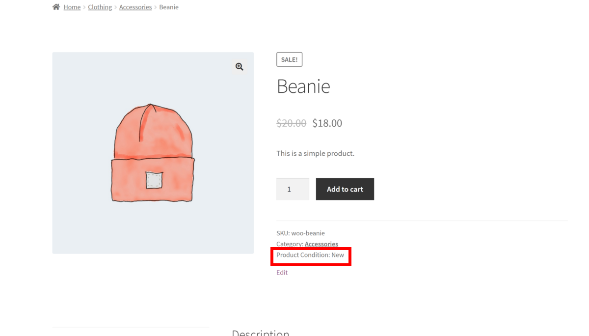 Product Condition for WooCommerce displaying product condition on product page