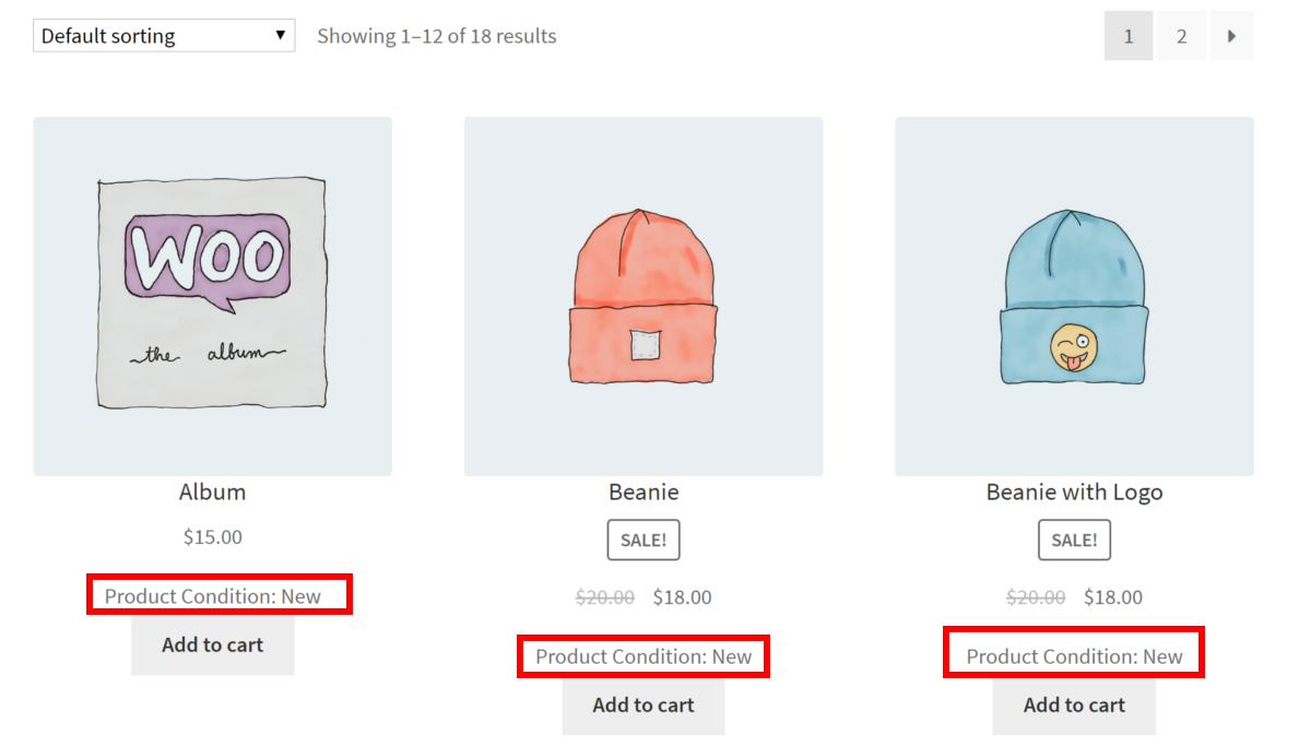 Product Condition for WooCommerce Shown on Shop Page