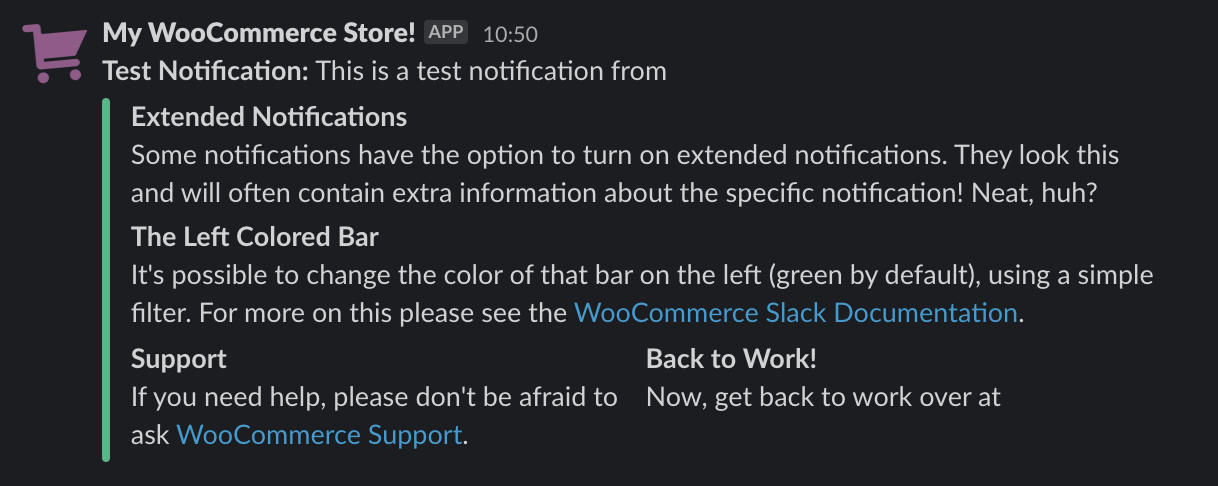 WooCommerce Slack extension test notification