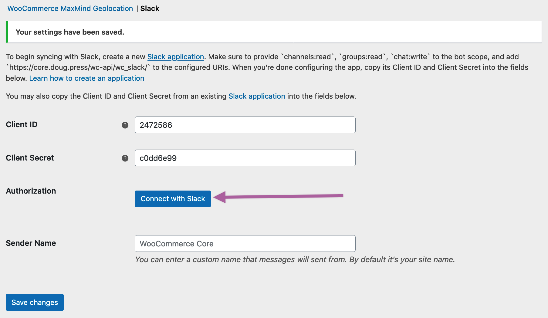 WooCommerce Slack extension showing Connect with Slack button