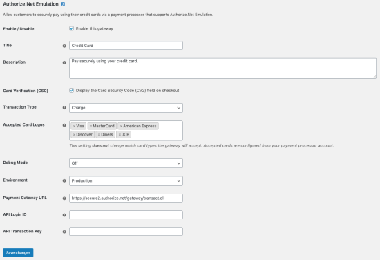 WooCommerce Authorize.Net Emulation settings