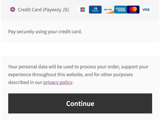Payeezy JS on the Checkout page
