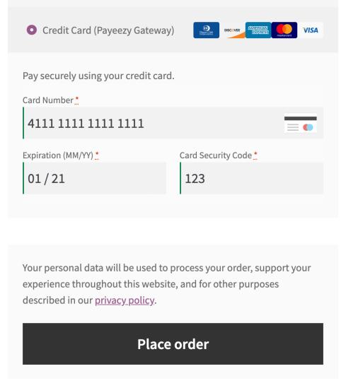 Payeezy Gateway credit card form