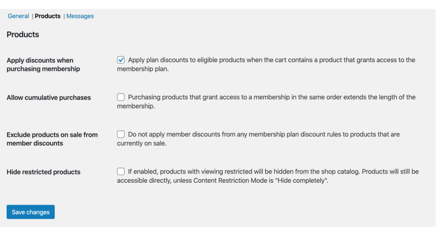 WooCommerce Memberships: Products Settings