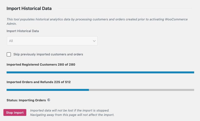 Historical data import in progress