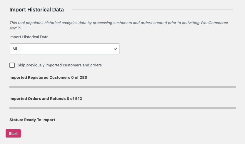 Analytics > Settings > Import historical data