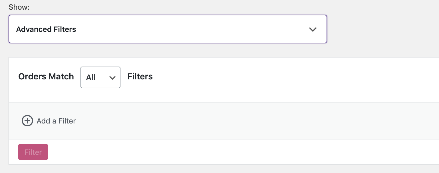 Orders Report Filter Matching
