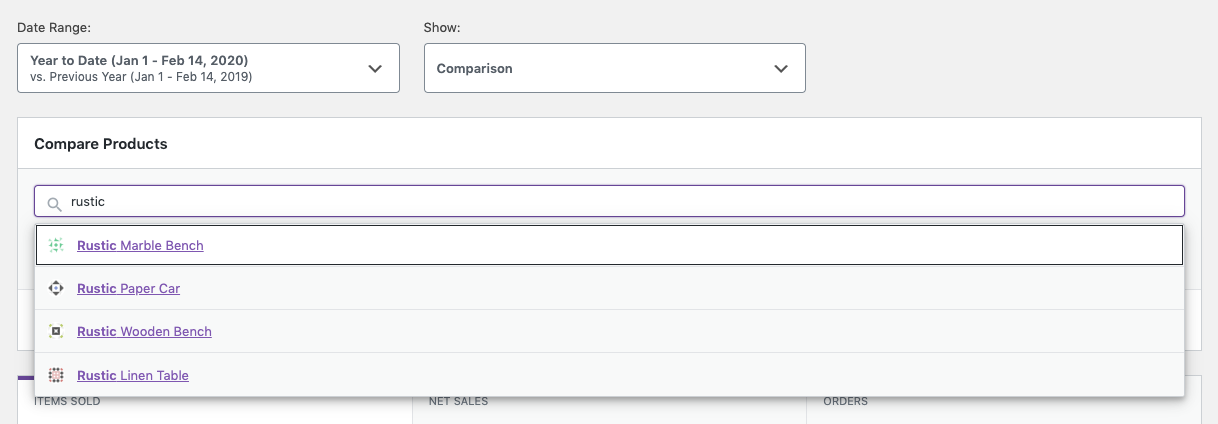 Products Report Comparison Mode Search