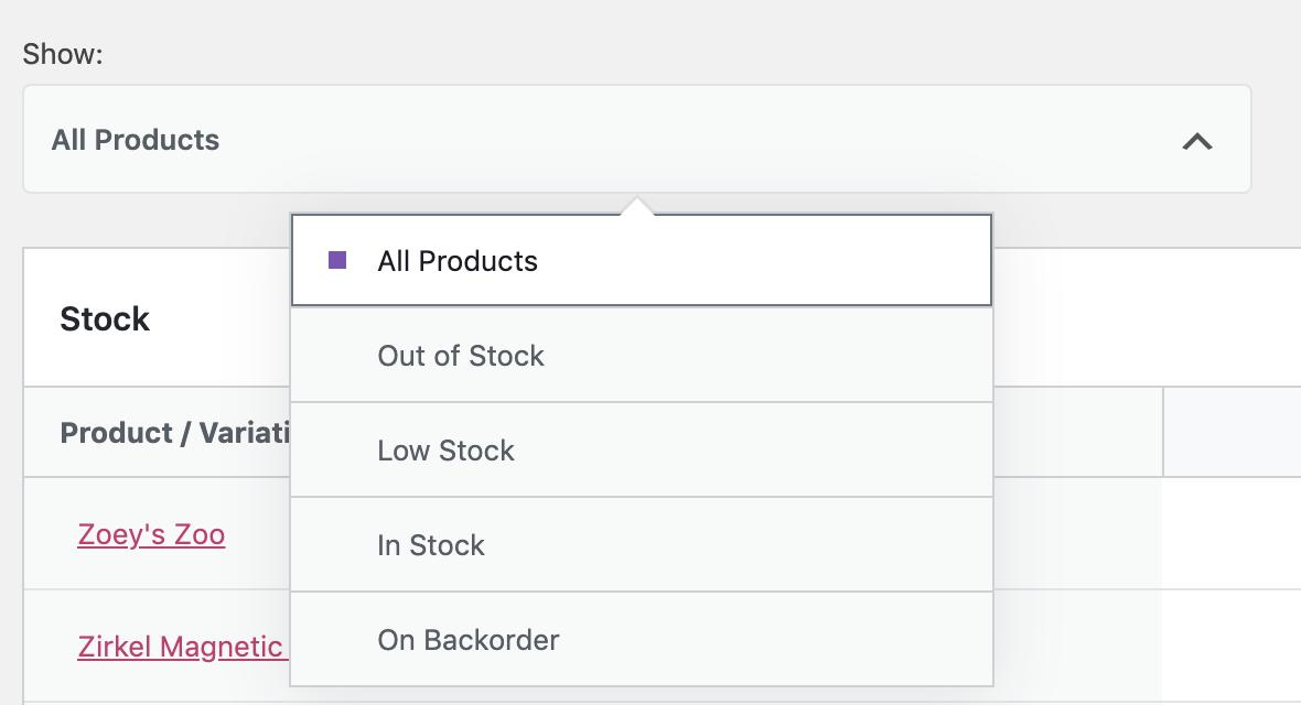 Stock Report Filter