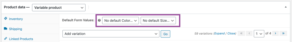 default variations