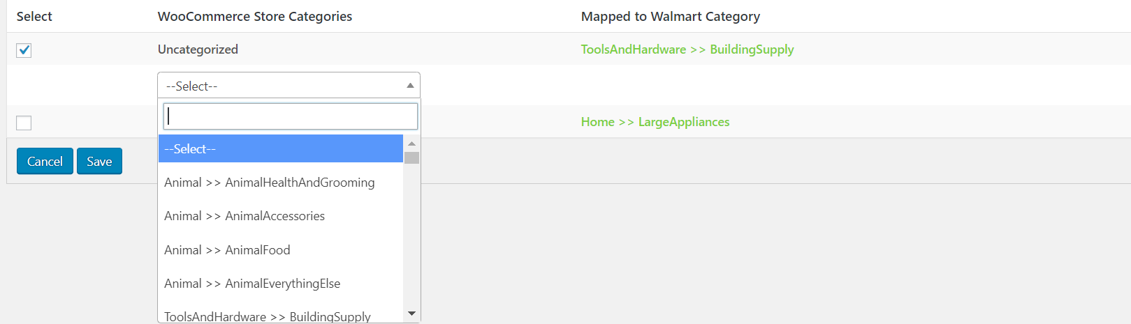 select category mapping