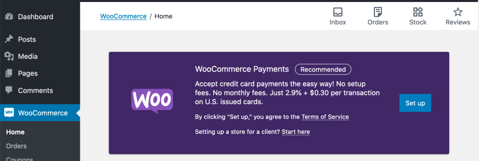 WooCommerce > Setup payments task screenshot