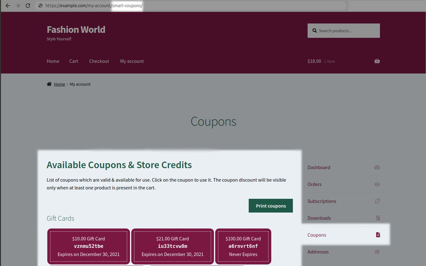 Coupon page URL in My Account