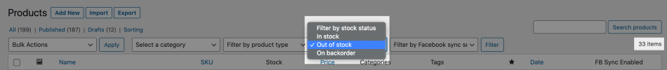 Filter products by stock status