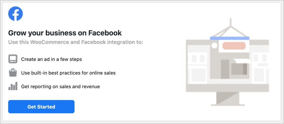 Facebook for WooCommerce welcome screen