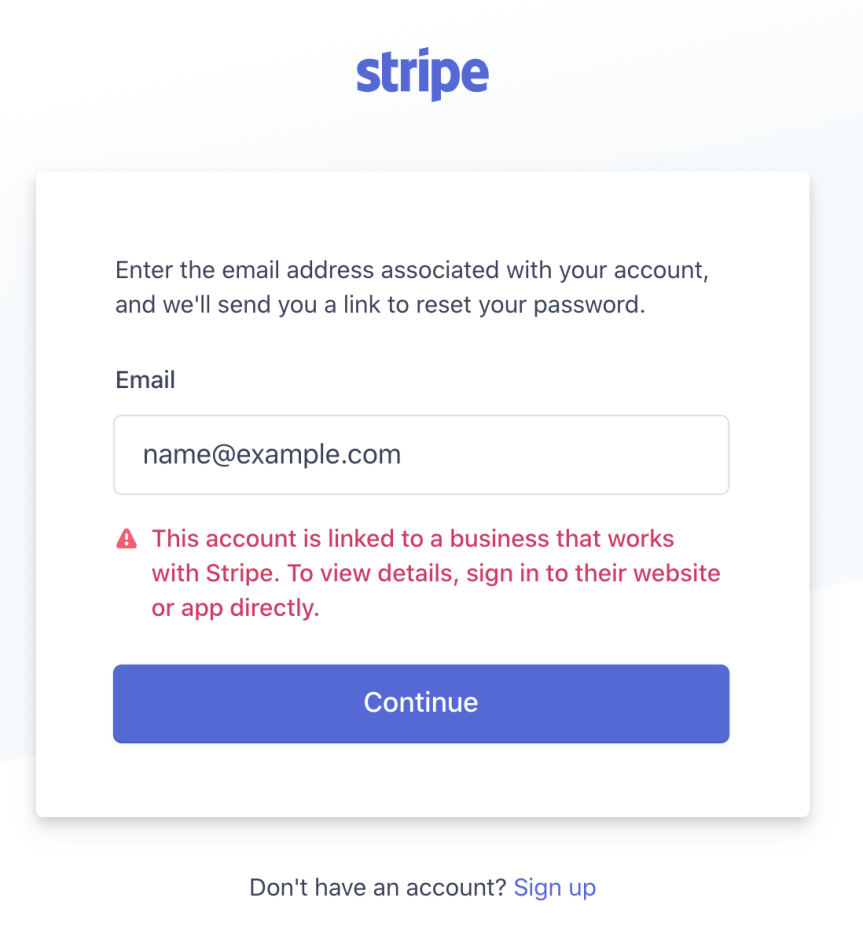 Forgot password error using WooCommerce Payments Stripe Express account email address