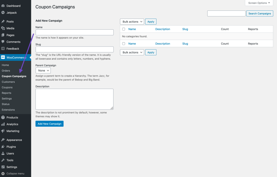 Coupon Campaigns settings page for adding a new Campaign