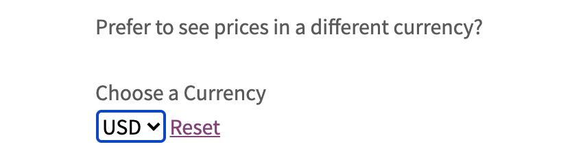 The Currency Conversion Widget that results from the shortcode and attributes above.