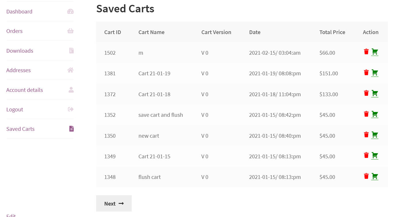 saved carts history at my account page
