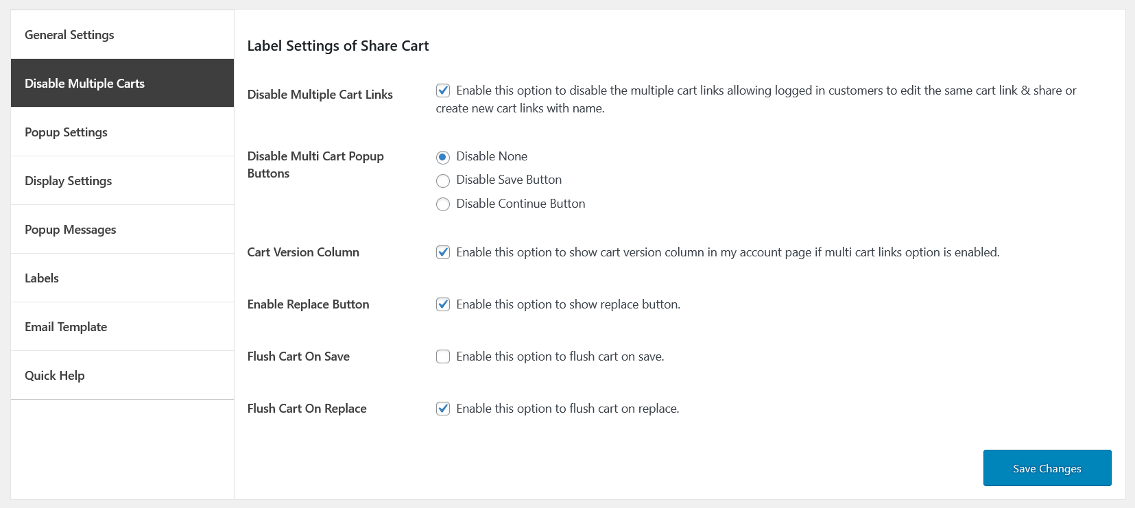save and share cart disable multiple carts