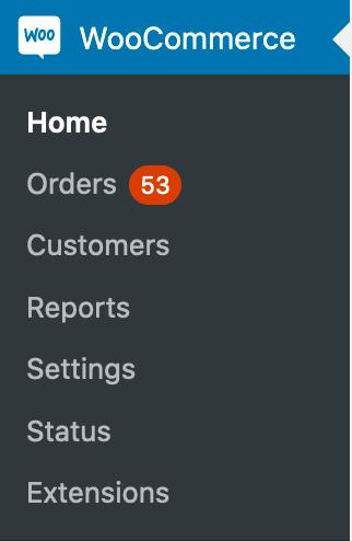 Screenshot showing WooCommerce Menu Items