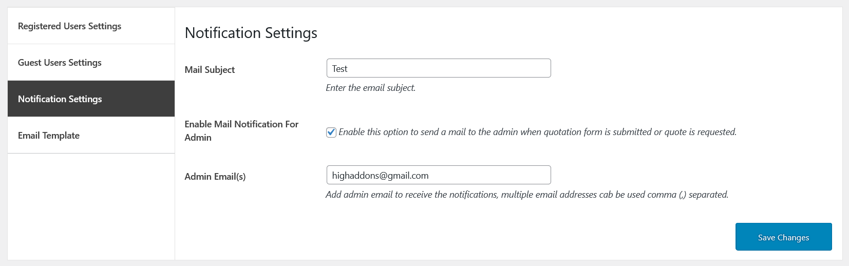 cart to quote notification settings