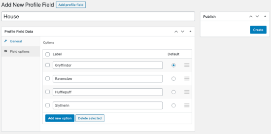 Updating field option settings for new profile field.