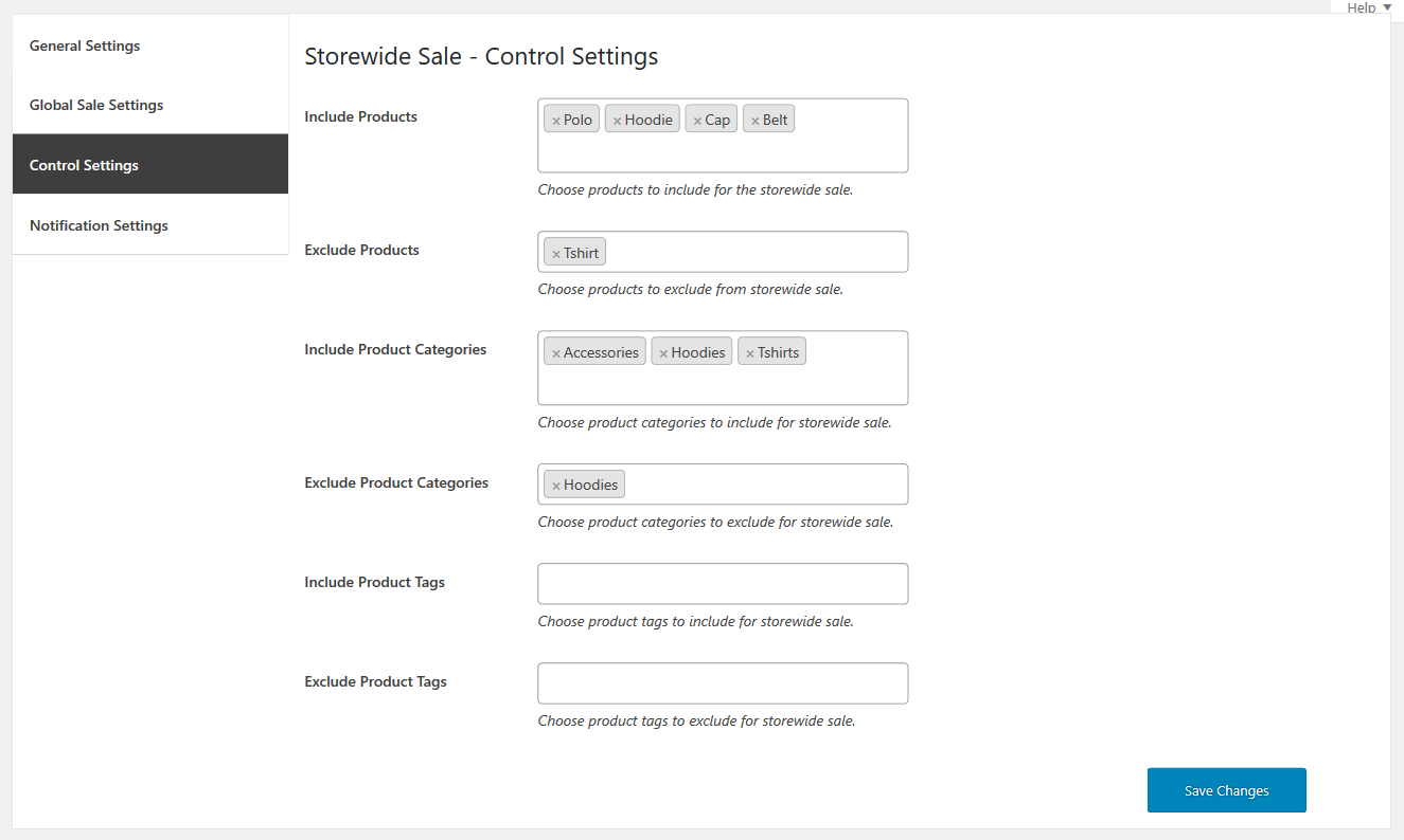 Storewid Control Settings