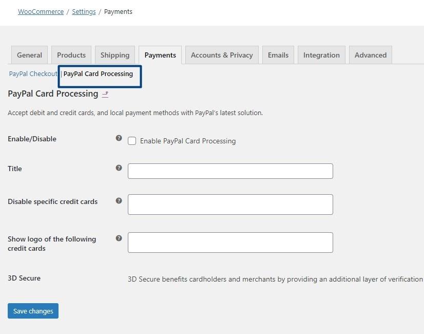 PayPal Card Processing tab