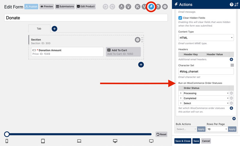 WS Form PRO Product Add-Ons - Running Actions