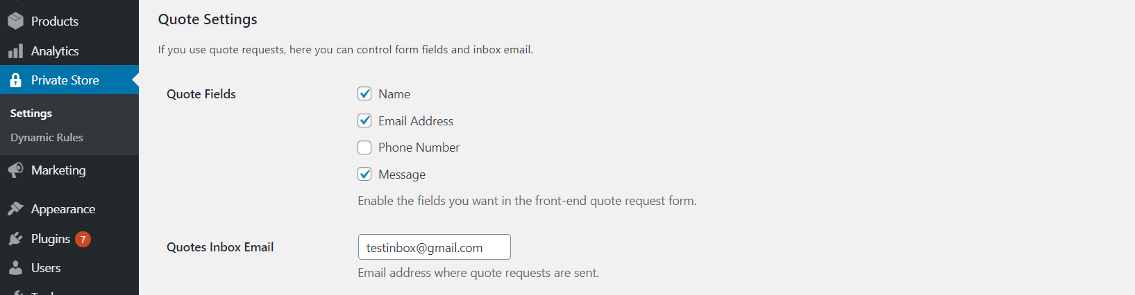 Quote Request Settings