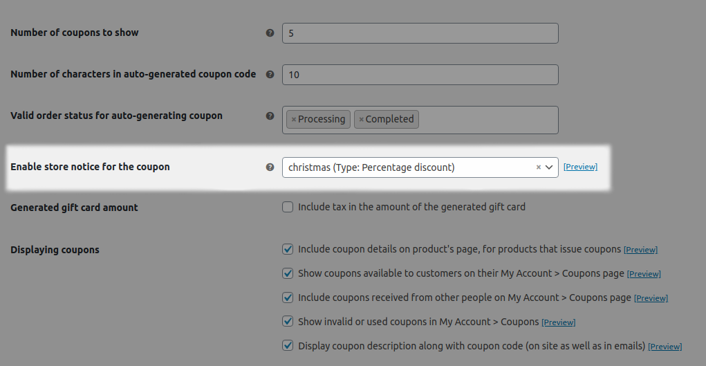 WooCommerce Coupon Code Notice Setting