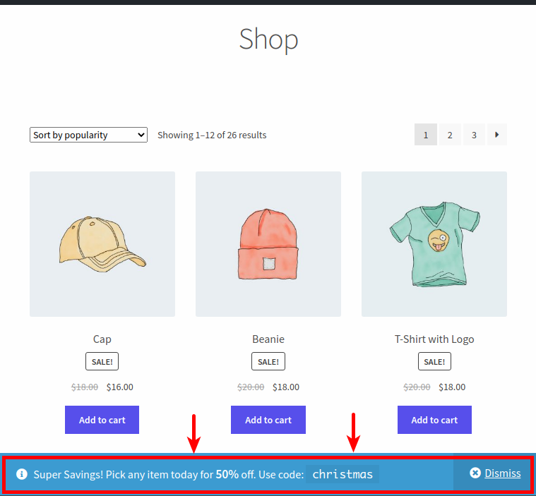 WooCommerce Coupon Code Notice